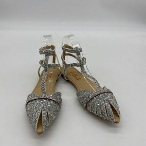 FSJ Women Comfortable Pointed Toe T-Strap Flats S